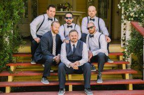 Phoenix wedding photograph of groomsment on steps