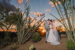 Phoenix wedding photograph of sunset bride and groom portrait