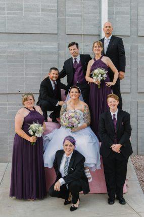 Phoenix wedding photograph of same sex brides with wedding party