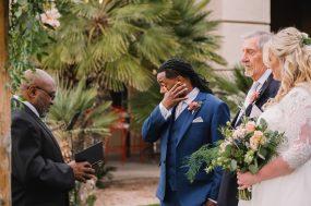 Phoenix wedding photograph of groom crying at ceremony