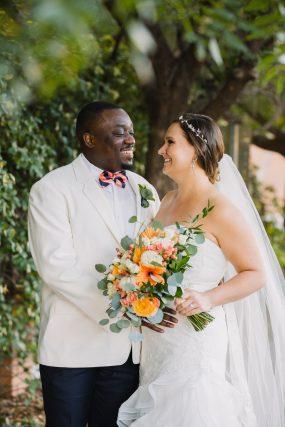Phoenix wedding photograph of black groom and white bride