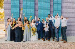Phoenix wedding photograph of wedding party cheering