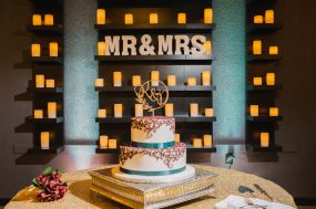 Phoenix wedding photograph of wedding cake with candles