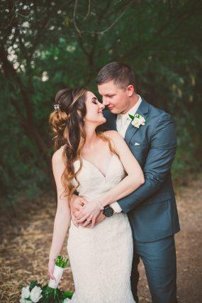 Phoenix wedding photograph of couple hugging in trees