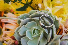 Phoenix Wedding Photography of wedding rings on wedding day