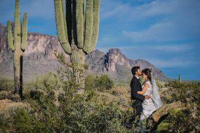 Phoenix Wedding Photography of couple kissingon wedding day