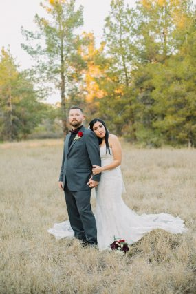 Phoenix wedding photograph of bride and groom in forest