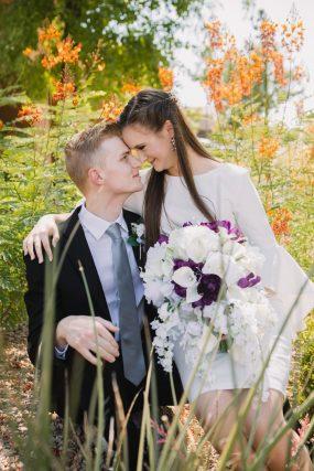 Phoenix wedding photograph of bride and groom in garden