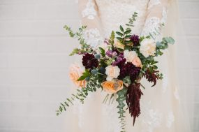 Phoenix wedding photograph of bridal bouquet with roses