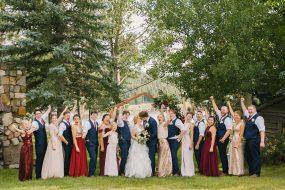 Phoenix wedding photography of wedding party cheering
