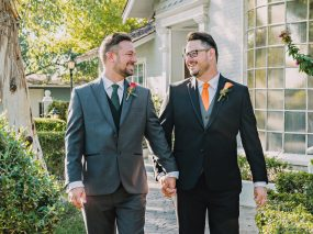 Phoenix Wedding Photography of couple holding hands on wedding day