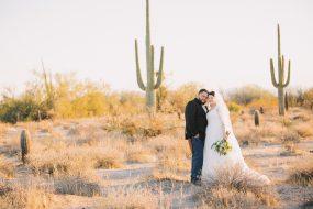 Phoenix wedding photography of bride and groom in the desert