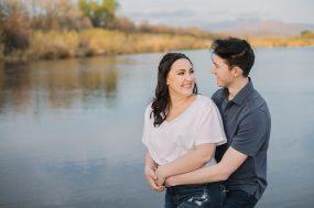 Phoenix engagement photograph of couple on river