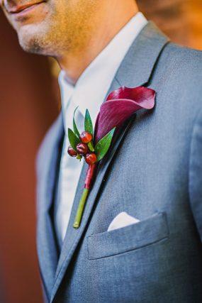 Phoenix Wedding Photography of groom's boutonniere on wedding day