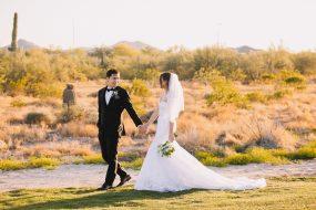 Phoenix wedding photography of wedding couple walking