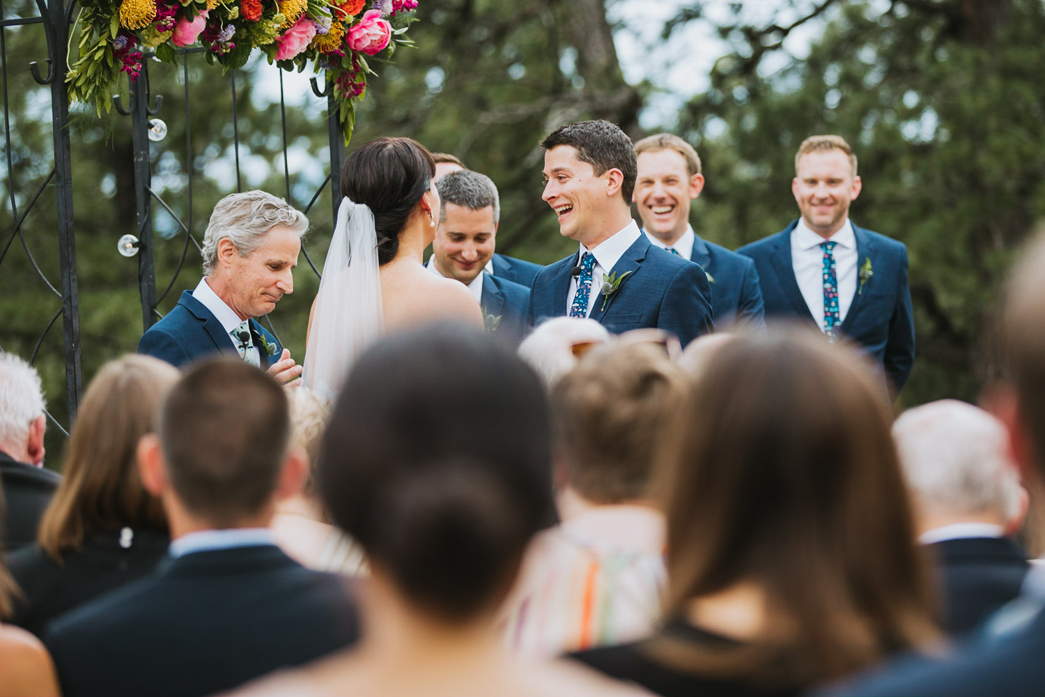 Groom Laughs During Wedding Ceremony
