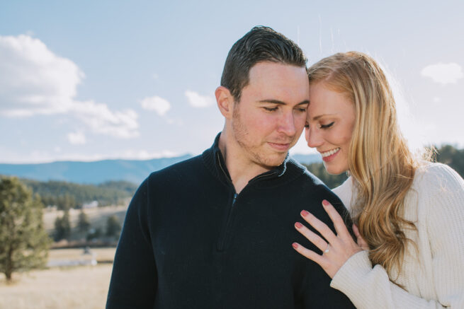 Laura + Dustin |  Winter Engagement Photos in Bailey, Colorado